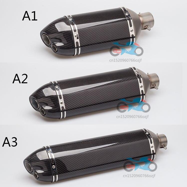 Мотоцикл глушитель углеродное волокно ОГ 380 мм 470 мм 570 мм длинные двойные отверстия выхлопных газов подходит для TMAX530 R6 ZX6R Z800 nmax155 GSXR