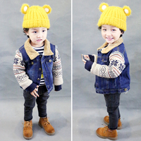 Baby Outerwear Baby Boys Warm Coat Baby Girls Winter Jacket Kids 2016 New Cute Fashion Denim