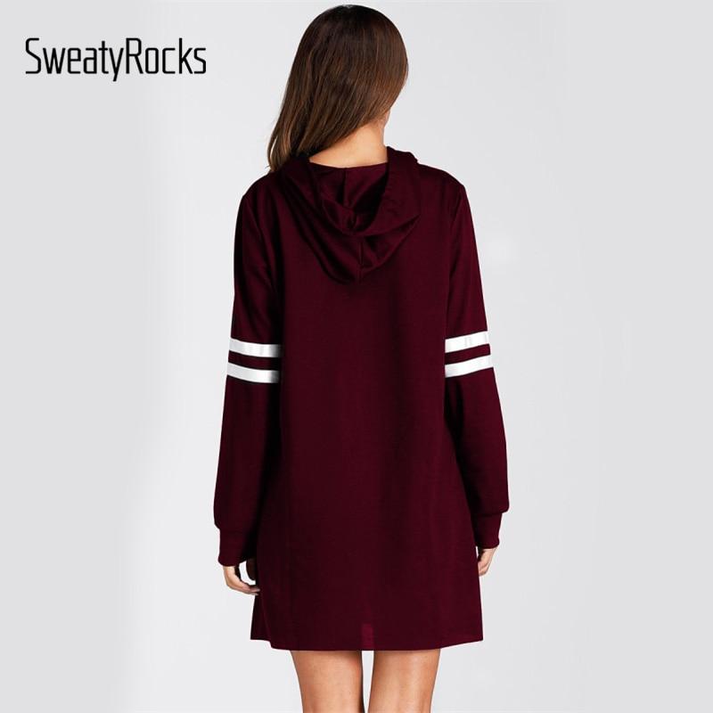 f42d93724bc8f SweatyRocks Burgundy Varsity Striped Long Hoodie Dress 2018 Autumn Women  Long Sleeve Sweatshirt Dress Casual Dress For Ladies-in Dresses from Women's  ...