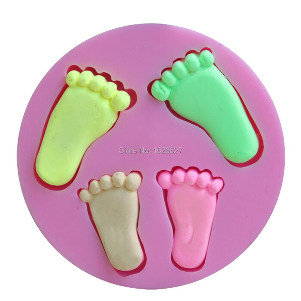 Silicone baby foot mold for cake decoration fondant 3d for Baby footprints cake decoration