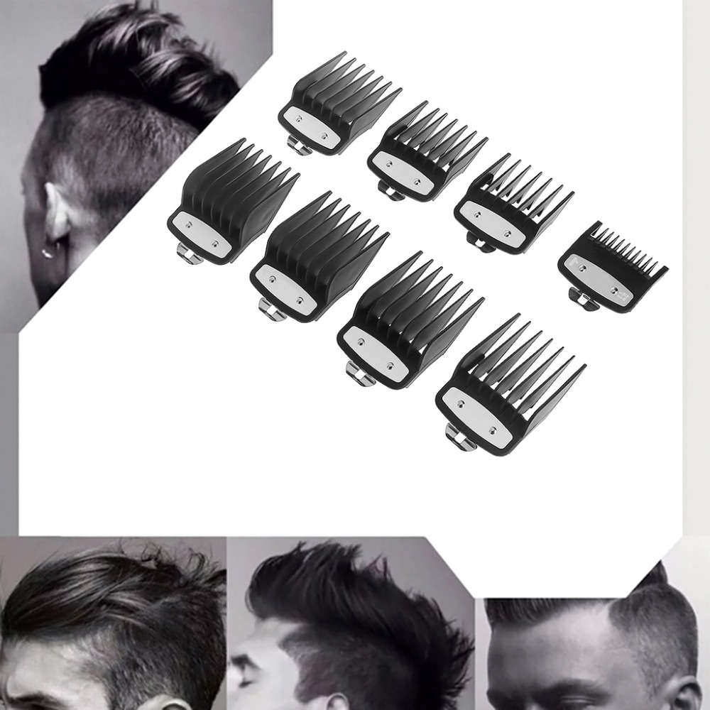Kemei 8pcs Professional Cutting Guide Comb Black For Wahl With Metal Clip #3171-500-1/8
