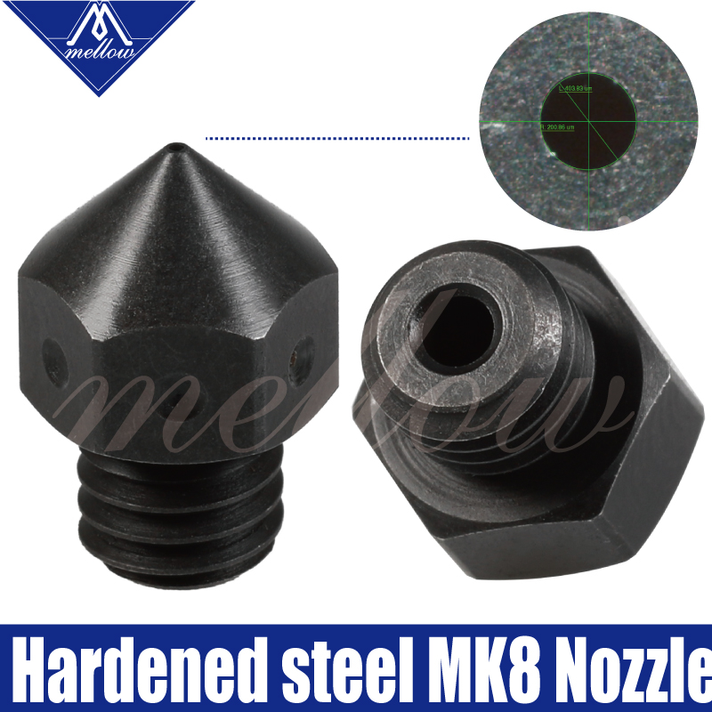 Mellow High Temperature Hardened Steel MK7 MK8 Nozzles F/ Micro Swiss Creality CR-10 Ender 3 Hotend Prusa I3 3D Printer