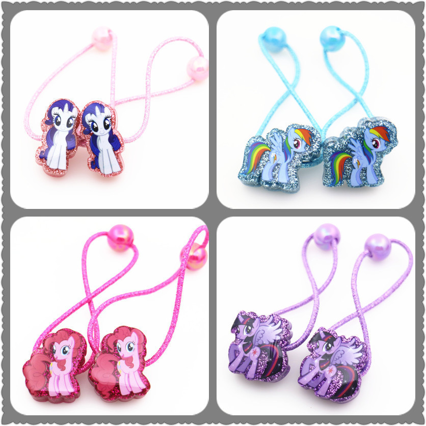 2 PCS New Cute Cartoon Pony Princess Headwear Kids Elastic Hair Bands Baby Headdress Children Hair Ropes Girls Hair Accessories newly design manual girls hair accessories kids elastic hair bands princess headwear children hair bow ropes baby headdress