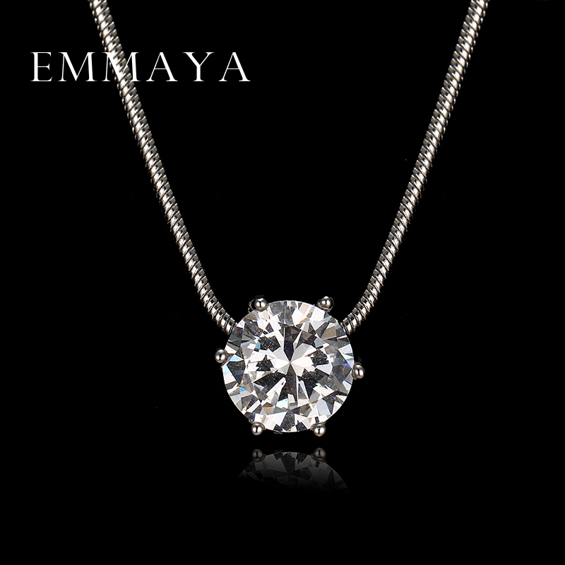 Emmaya Luxury Heats and Arrows Round Cut Zircon Pendant Necklaces for Women Wedding and Engagement Jewelry