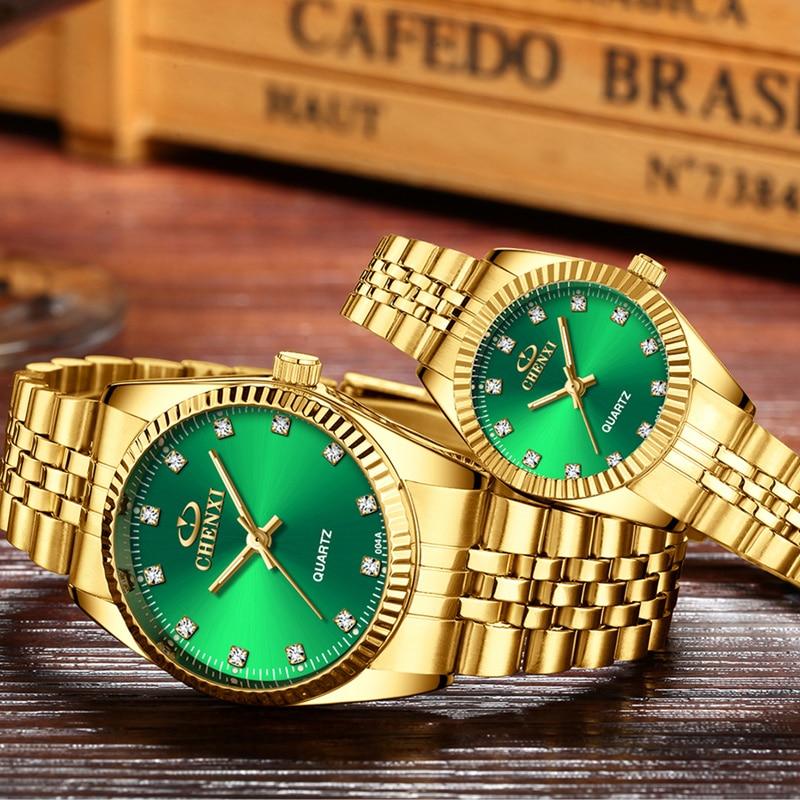 CHENXI Couple Watch Men Women Top Brand Luxury Gold Couple Watches Fashion Diamond Lovers Watch Waterproof Stainless Steel Clock