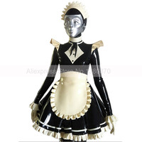 Sexy Maid Latex Dress Lolita Witch Costumes Handmade Customized Dresses and Apron S LD261