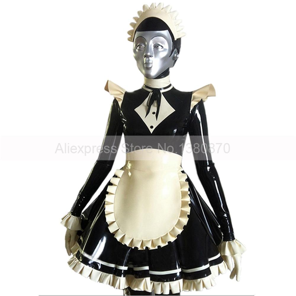 Robe Sexy en Latex robe Lolita sorcière Costumes robes personnalisées à la main et tablier S-LD261