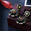 Latest glamorous earrings! Black gold color vintage flowers Get your perfect pair of trendy earrings for every occasion
