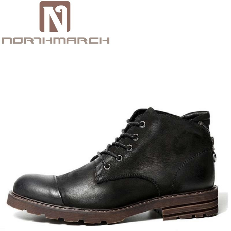 NORTHMARCH Genuine Leather Martin Boots For Men New Winter Waterproof Lace Up Shoes Short Luxury Brand Working Men Boots Zapatos new men winter boots plush genuine leather men cowboy waterproof ankle shoes men snow boots warm waterproof rubber men boots