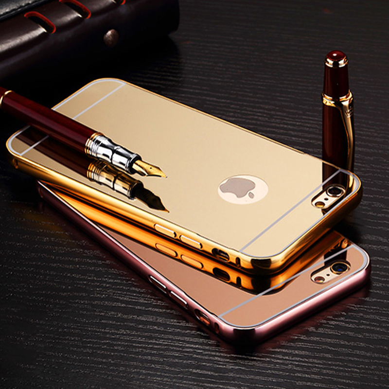 For iPhone 7 7Plus Luxury Mirror Aluminum Case Metal Ultra Slim Acrylic Back Cover For Apple iPhone 6 6S 6Plus 5 5S 4 4S Case (*