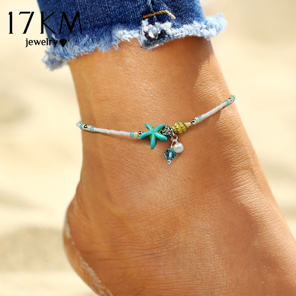 17KM Shell Anklet Beads Starlets Anklets For Women 2018 Fashion Vintage دستباف بیانیه صندل دستبند دستبند پا Boho