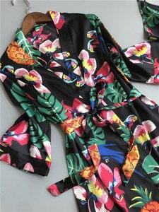 Image 2 - ZOOLIM bahar kadınlar 3 adet ipek Pijama setleri pantolon ile çiçek baskı spagetti kayışı Pijama saten zarif seksi gecelik Pijama