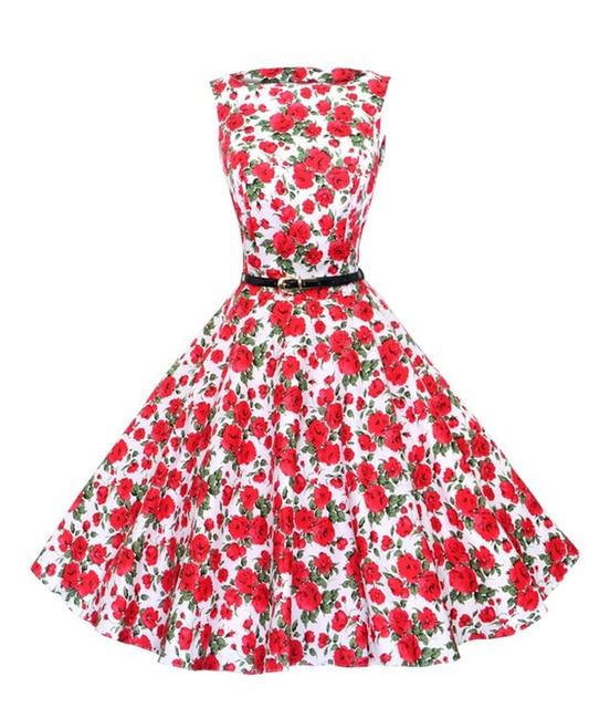 Women\'s 60s 50s Dress Elegant Vintage Rockabilly Pinup Floral Print ...