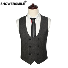 SHOWERSMLE Mens Double Breasted Waistcoat Autumn Winter Gray Woolen Suit Vest Male Vintage Slim Fit Business Clothing Gilet 2019
