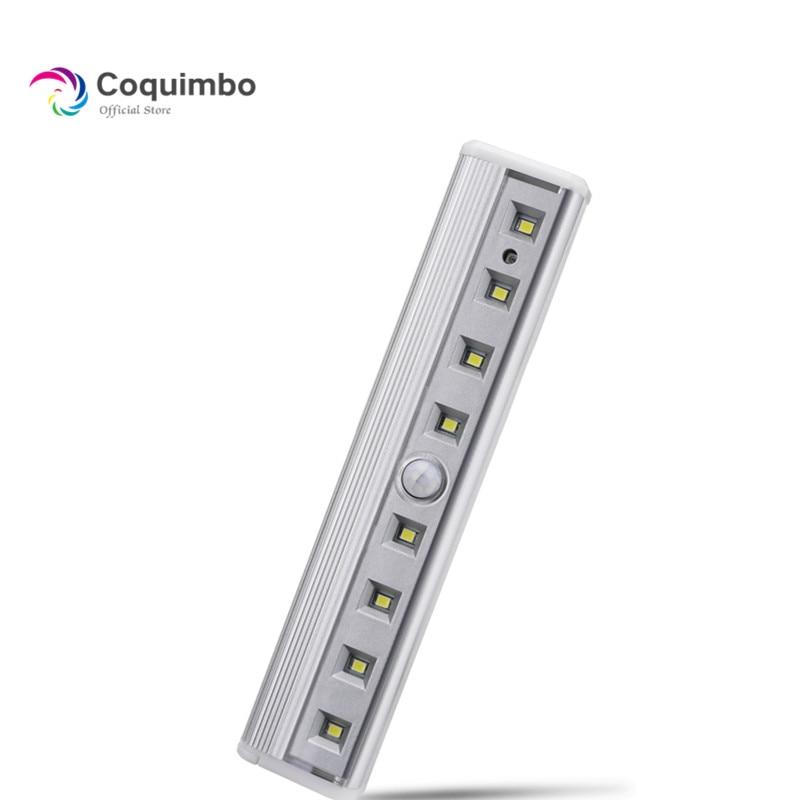 8 * SMD Светодиодная суперъяркая Магнитная световая панель с датчиком для шкафа, гардероба, работает от батарейки, Пассивный инфракрасный дат...