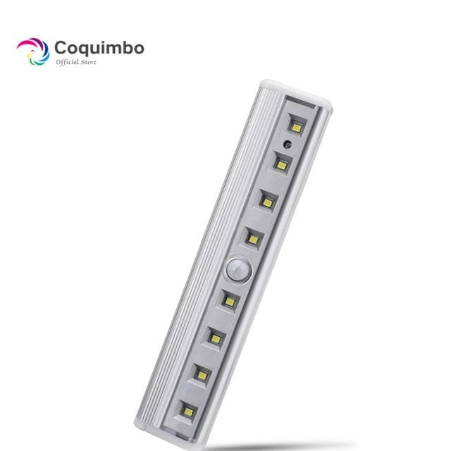 Luz super brilhante de led, 8 * smd para barra de sensor de ímã para gabinete, guarda roupa, bateria, sensor de movimento pir, luz led noturna luz clara