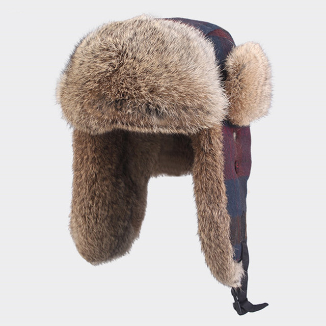 Kenmont Winter Women Outdoor Ski Hats Warm Earflap Real Natural Rabbit Fur Cap Aviator Bomber Russia Hat 2302