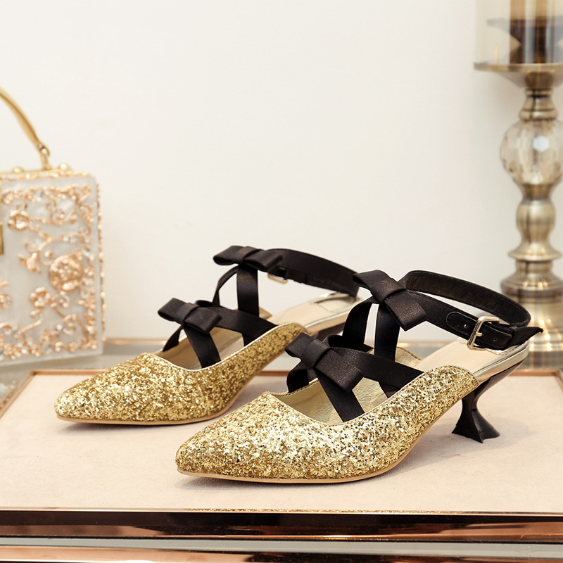 ... with Sequins Heel Med EARTH Female Summer STAR Glitter Pointed  chaussure Toe Women Bling Bow Lady 4ed3c6184b8d