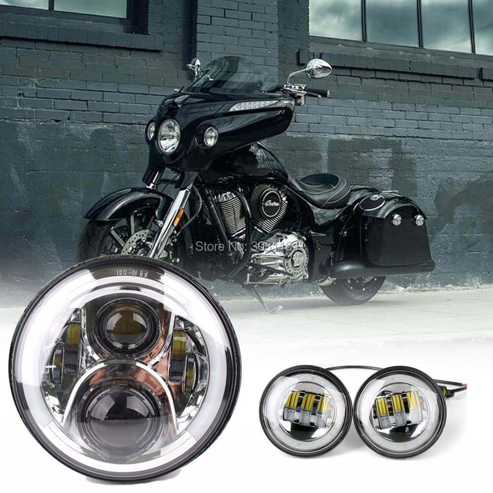 7LED Headlight H4 Hi/Lo Beam +4.5led fog lamp DRL with Halo Ring for 2000-2014 Harley-Davidson FLSTC Heritage Softail Classic chrome custom motorcycle skeleton mirrors for harley davidson softail heritage classic