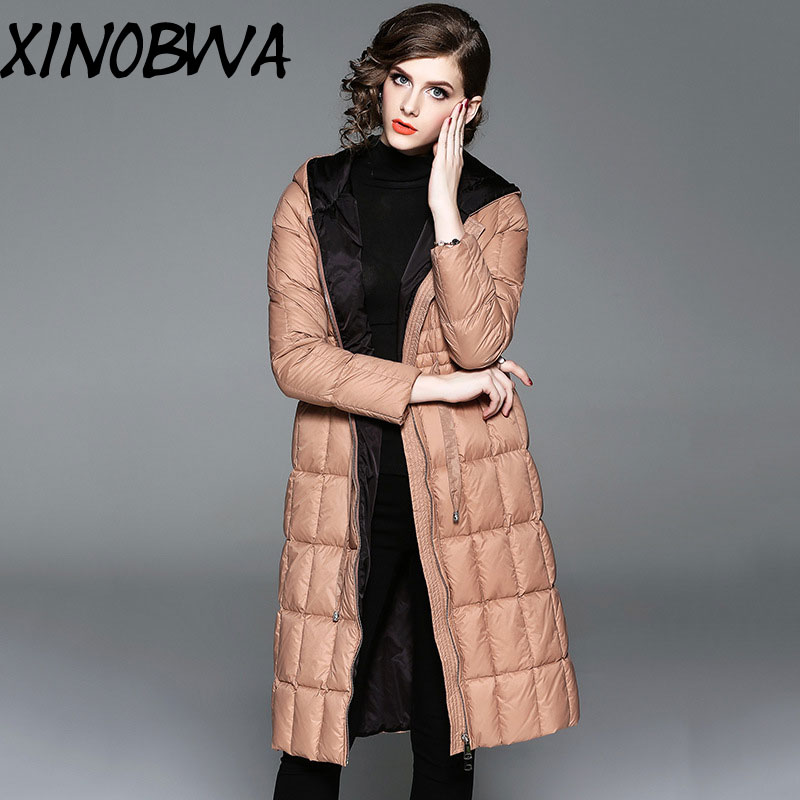 Europe New Women Winter High Fashion Medium Long Solid Thick Warm Down Jackets Female Casual Slim Long Parkas Coats With Hooded