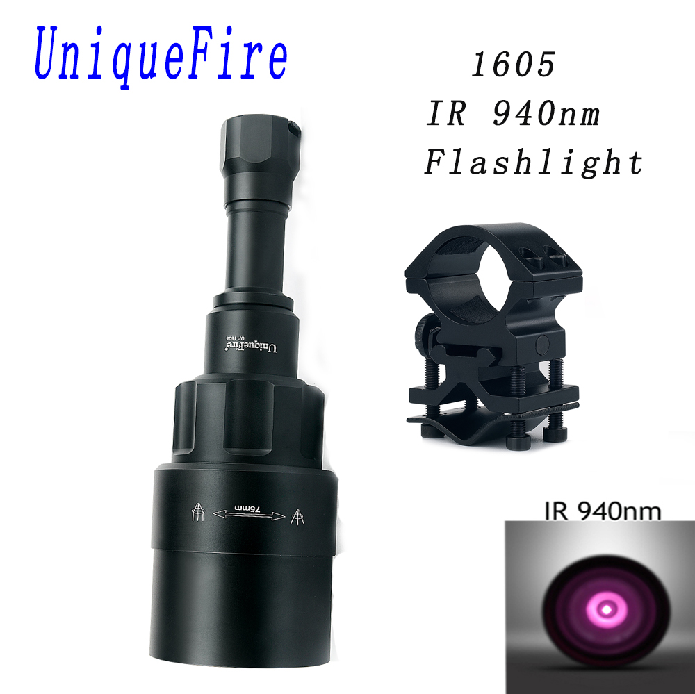 UniqueFire 1605 IR 940NM LED Flashlight 75mm Lens Infrared Light Night Vision Torch Rechargeable With Scope Mount For Hunting uniquefire 1605 ir 940nm led flashlight 38mm lens infrared light night vision troch adjustable rechargeable for hunting kit set