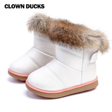 CLOWN DUCKS Childrens Real Rabbit Fur Ankle Snow Boots EU21-30 Kids Shoes Girls Warm Plush Waterproof Winter Baby