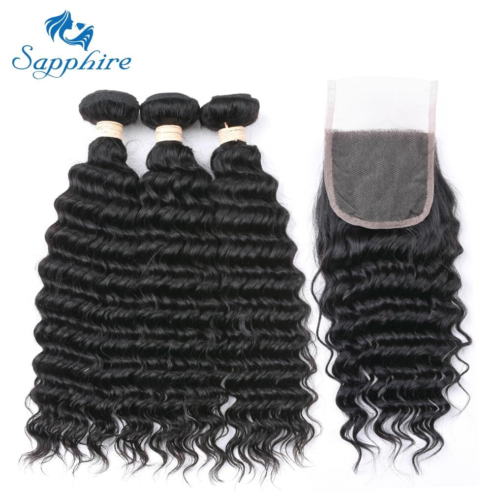 Sapphire Brazilian Hair Weave Bundles With Closure 3 Bundles With Lace Closure Remy Human Hair Deep