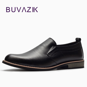 Image 1 - BUVAZIK Brand Leather Concise Men Business Dress Pointy Black Shoes Breathable Formal Wedding Basic Shoes Men