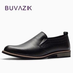 Image 1 - BUVAZIK Marka Deri Muhtasar Erkekler İş Elbise Sivri siyah ayakkabı Nefes Resmi Düğün Temel Ayakkabı Erkekler