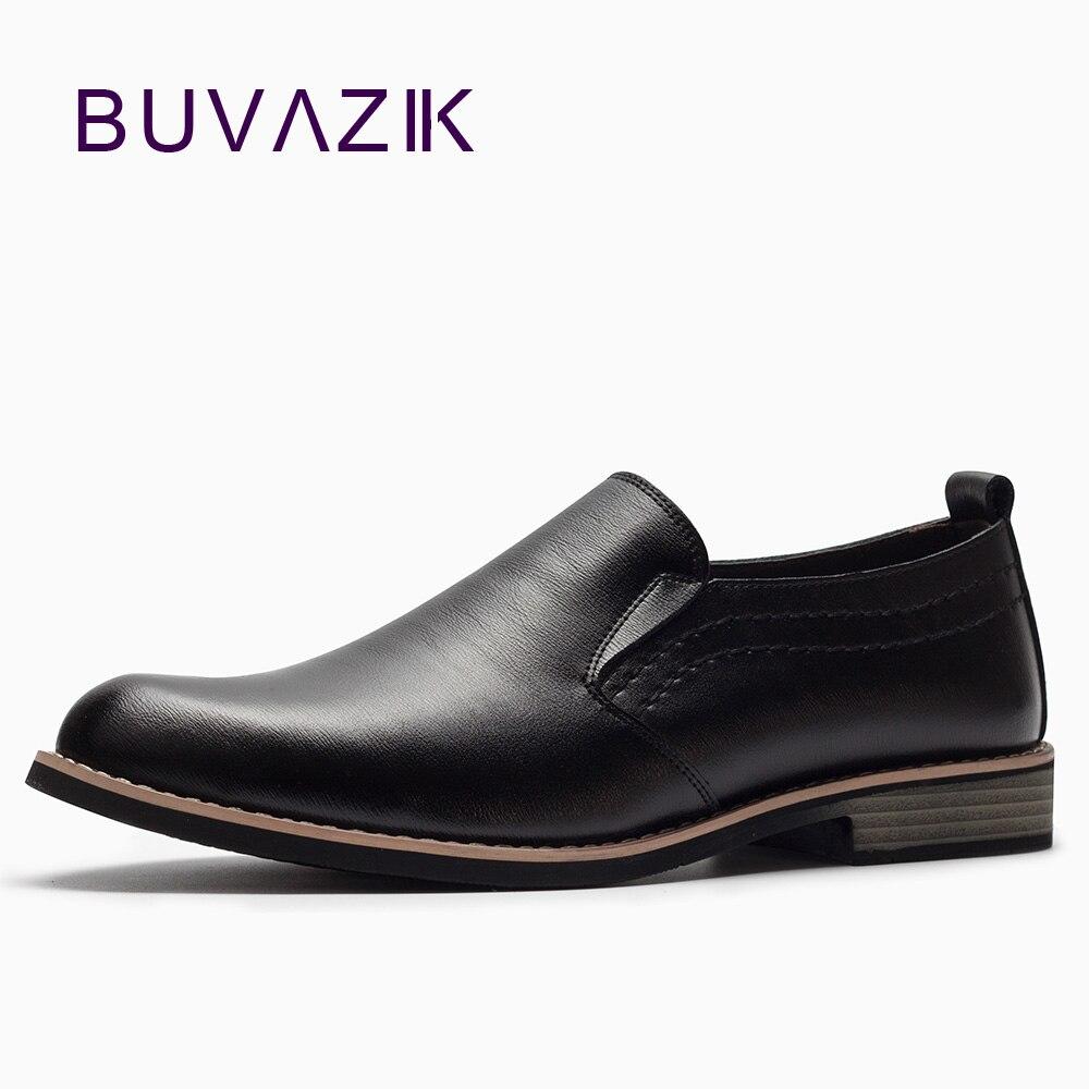BUVAZIK Marque De Luxe En Cuir Concis Hommes D'affaires Robe Pointu Noir Chaussures Respirant Formelle De Mariage De Base Chaussures Hommes