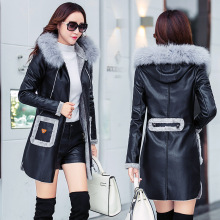 2018 New Fur Hooded Collar Women Long Leather Jacket Coat Female Winter Long Sleeve Suede Fur Jacket Women Bow Motorcycle Jacket
