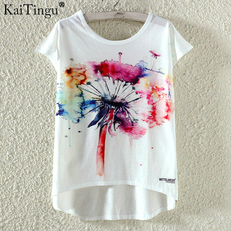 KaiTingu Fashion Summer Kawaii Cute T Shirt Harajuku High Low Style Cat Print T-shirt Short Sleeve T Shirt Women Tops M XL Size