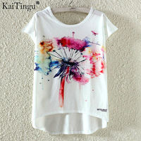 KaiTingu Fashion Summer Kawaii Cute T Shirt Harajuku High Low Style Print T Shirt Short Sleeve