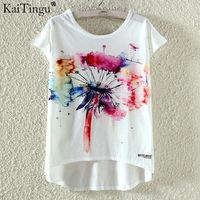 KaiTingu Fashion Summer Kawaii Cute T Shirt Harajuku High Low Style Print T Shirt Short Sleeve
