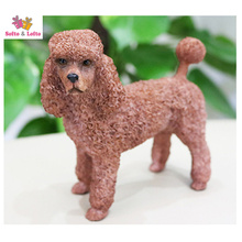 Brown poodle dog model craft,artificial puppy doggy,home desk car decoration,party favor birthday gift pet figure collections
