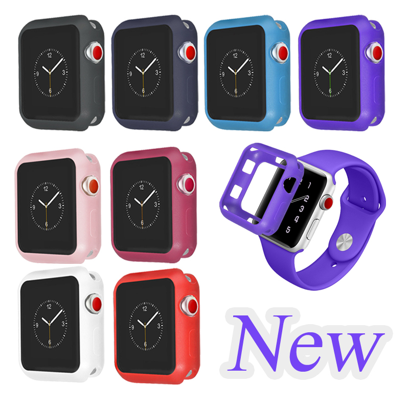 NEW Fall resistance Soft Silicone Case For Apple Watch iWatch Series 1 2 3 Cover Frame Full Protection 42mm 38mm strap band series 1 2 3 soft silicone case for apple watch cover 38mm 42mm fashion plated tpu protective cover for iwatch