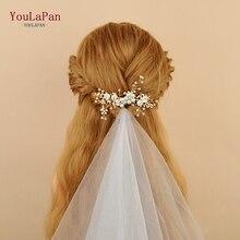 YouLaPan HP168 Accesorios nupciales para el cabello hechos a mano de perlas de agua dulce peineta de oro para novia boda pelo peine nupcial novia