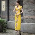 2016 Brand New Arrival Purple Chinese Traditional Women's Silk  Hand-Made Button Long Cheong-sam Dress S M L XL XXL 2016403