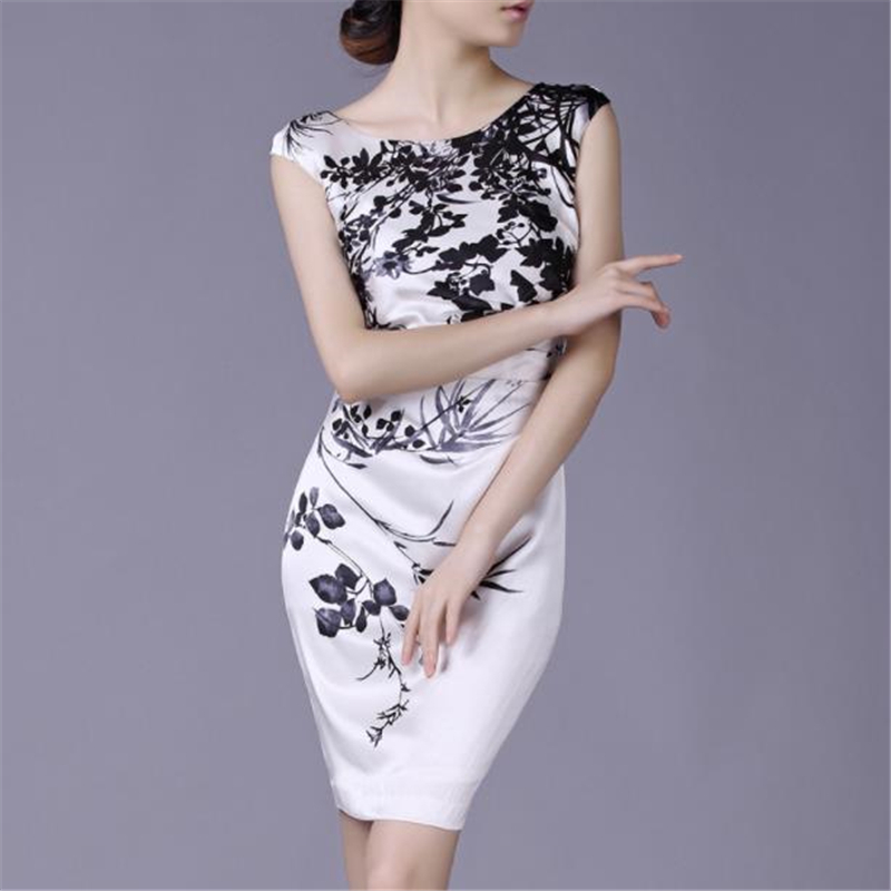 Women Ol Summer plus size Print 30 Silk Dresses Hedging Slim knee length Silk Dress lady