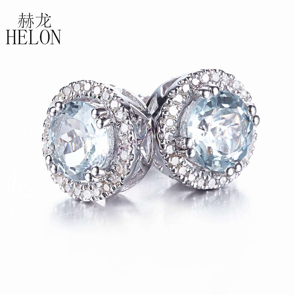 HELON 6mm Round Genuine Aquamarine Earrings Solid 10K White Gold Engagement Wedding Fine Diamonds Stud Earrings for women