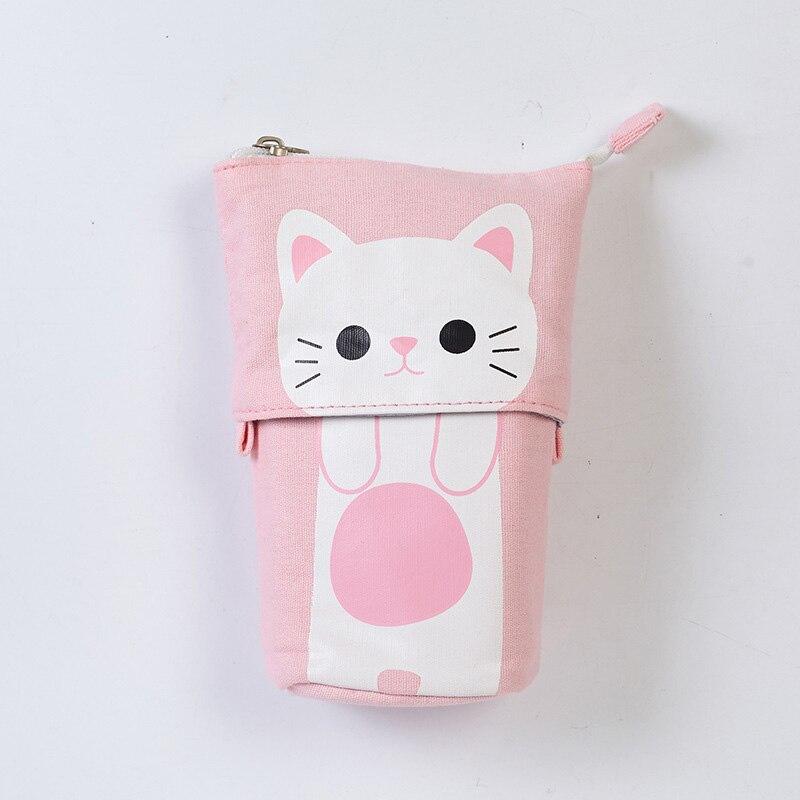 canvas Cartoon Cute Cat Telescopic Pencil Pouch Bag Stationery Pen Case Box with Zipper Closure -Pink цена 2017