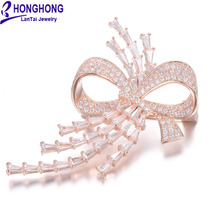 HONGHONG High Quality Cubic zirconia pins and brooches Bowknot brooches for women Wedding Dress fashion Jewelry WX8038