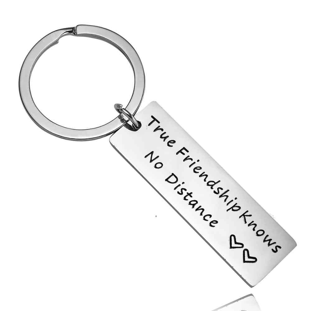 12 יח'\חבילה נירוסטה ידידות האמיתית יודע אין מרחק Keychain ארוך מרחק מערכת יחסים מתנות מפתח טבעת שרשרת החבר הכי טוב