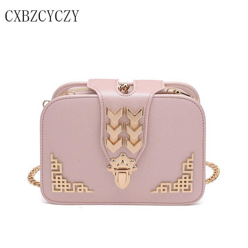 цена Brand Women Messenger Bags PU Leather Bag Ladies Chain Shoulder Bag Female Crossbody Small Bag Pink Handbag For girl Bolsas