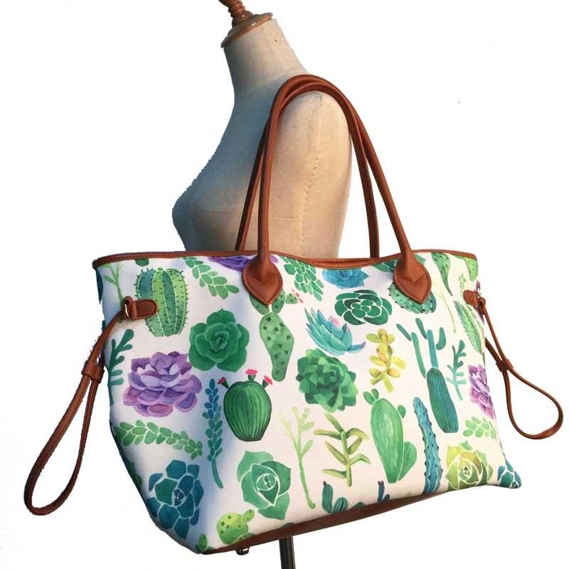 1800d11305 SHEJ Canvas Tote Wholesale Blanks String Cactus Printed Handbag ...