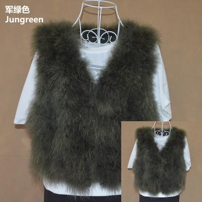 Новинка, женский жилет из натурального меха страуса, меховое пальто из страуса, Меховая куртка, много цветов,, низкая цена, F1092 - Цвет: Jungreen