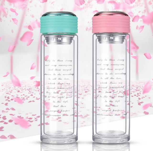 360ml High Grade Double Wall Glass Drinking Bottle Water