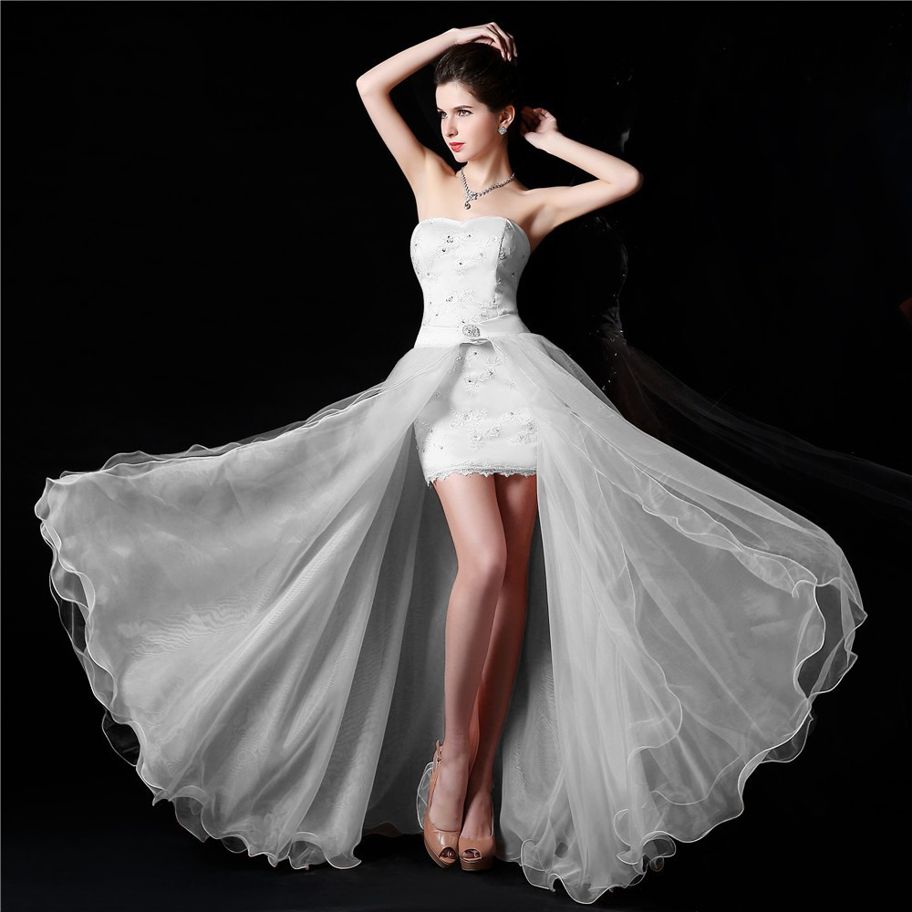 New design high low strapless white wedding dress bridal for Free wedding dresses low income