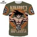 2016 Verão Roupas Da Moda Tee Camiseta Dragon Ball Z Camisa de T Para Vencer Goku SAIYAN Algodão T-shirt de Manga Curta, YK TIO