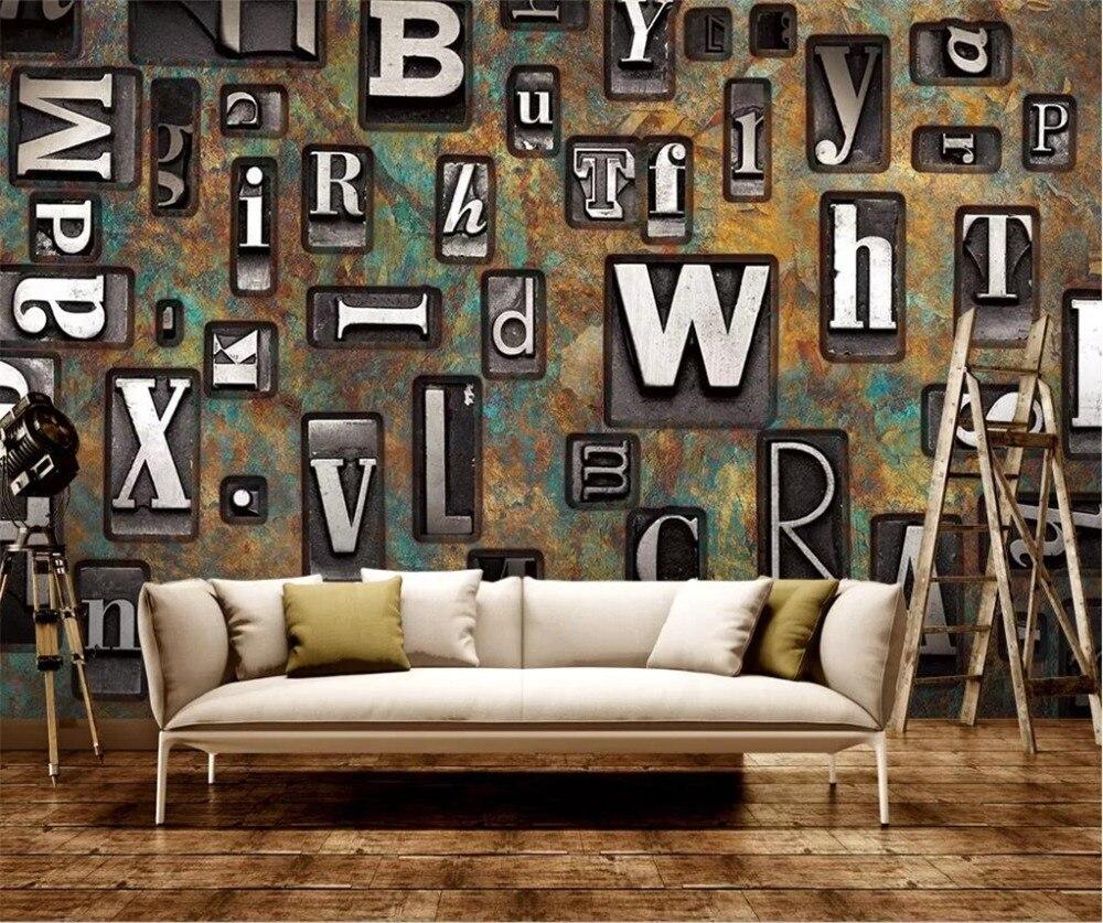 7 69 44 De Réduction Beibehang Personnalisé Grand Fonds D écran 3d Peintures Murales Alphabet Anglais Rétro Nostalgique Rouille Fresque Rouillé